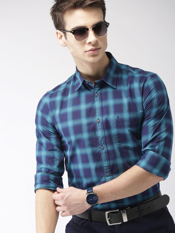 Indian Terrain 100 Percent Cotton Blue Checks Shirt