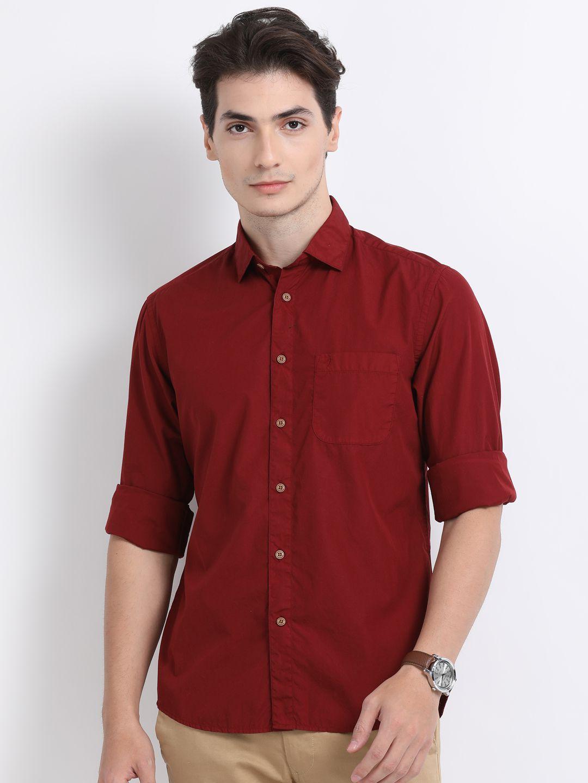 Indian Terrain 100 Percent Cotton Red Solids Shirt