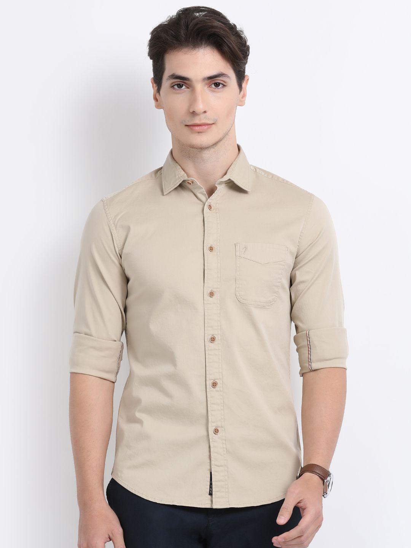 Indian Terrain 100 Percent Cotton Beige Solids Shirt