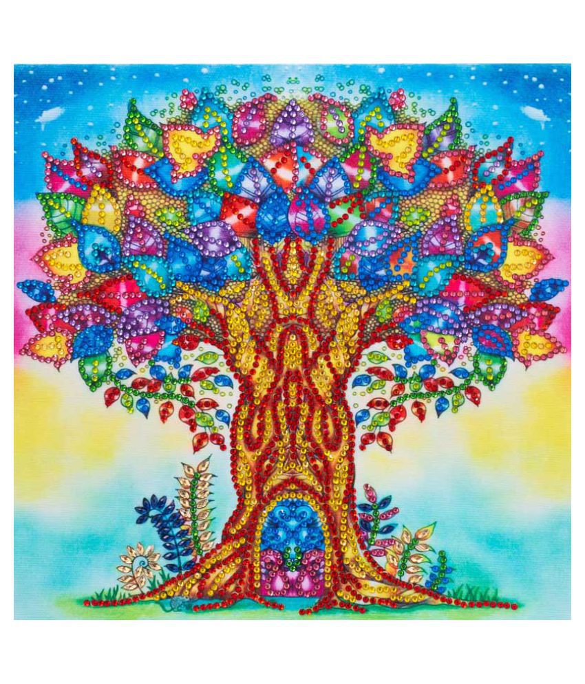 Colorful Tree Pattern Partial 5D DIY Diamond Painting By Number Kits For Home Wall Decor Kid Adult Practice Manual