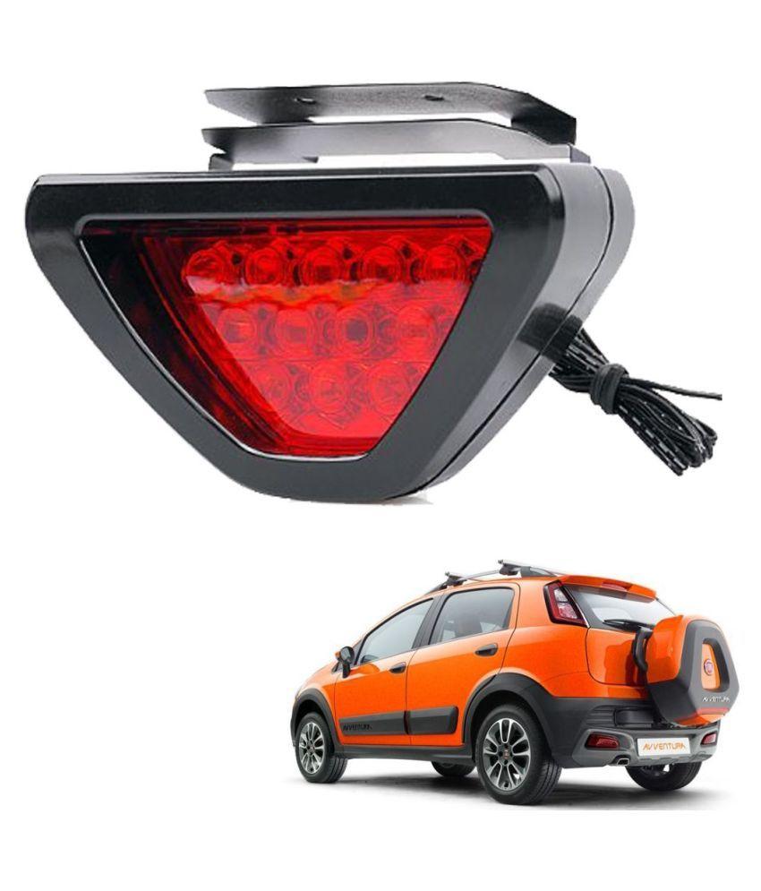 Auto Addict Car Triangle Shape 12 LED Red Color Brake Light with Flash Mode For Fiat Avventura