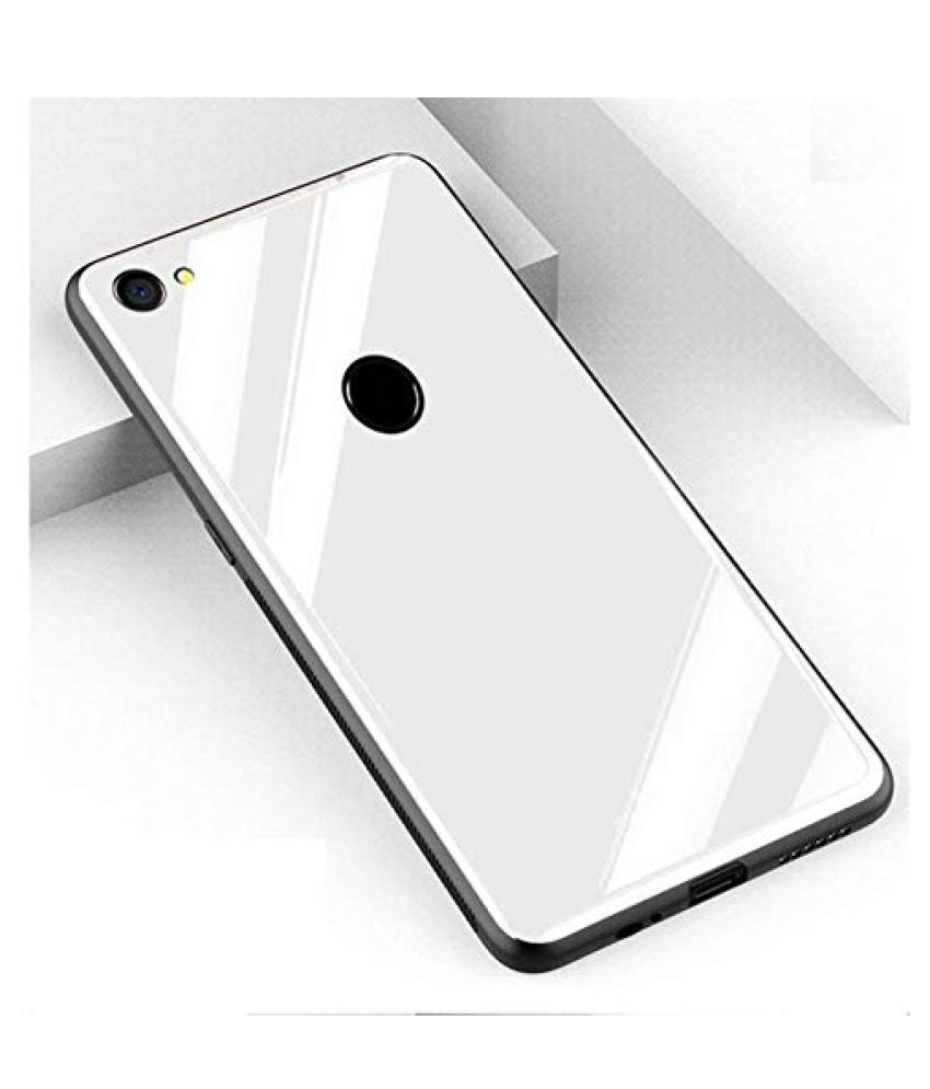 Vivo Y81 Plain Cases Doyen Creations - White 360°  Luxurious Toughened Glass Back Case