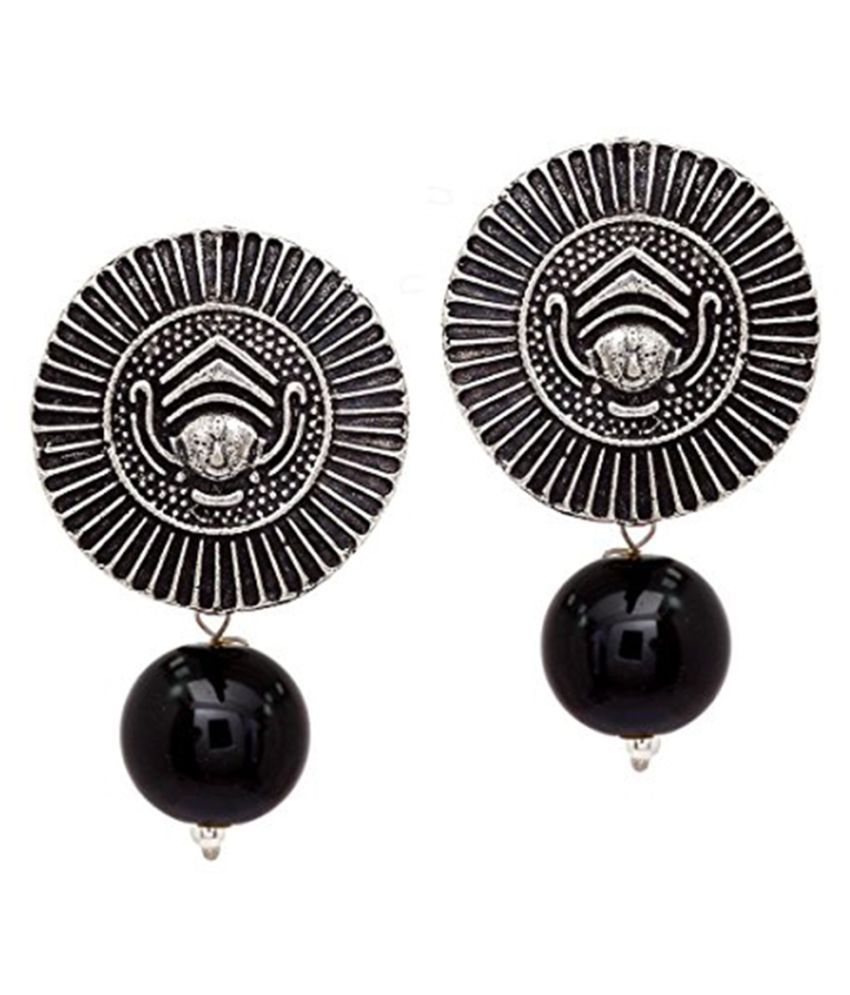 Peora Handmade Designer Traditional Oxidised Silver Plated Durga Jewellery Stud Drop Earring With Black Beads For Womens & Girls