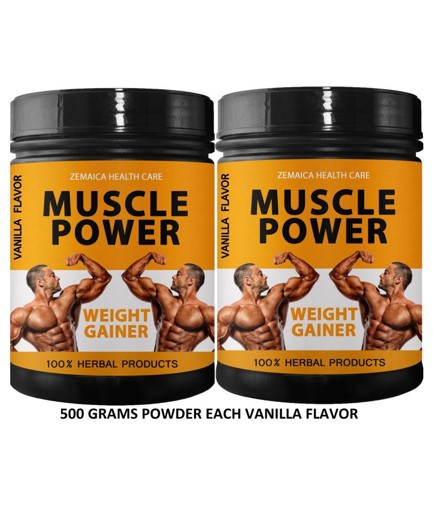 Zemaica Healthcare Muscle Power Weight Gainer Vanilla Flavr Powder 1000 gm Pack Of 2