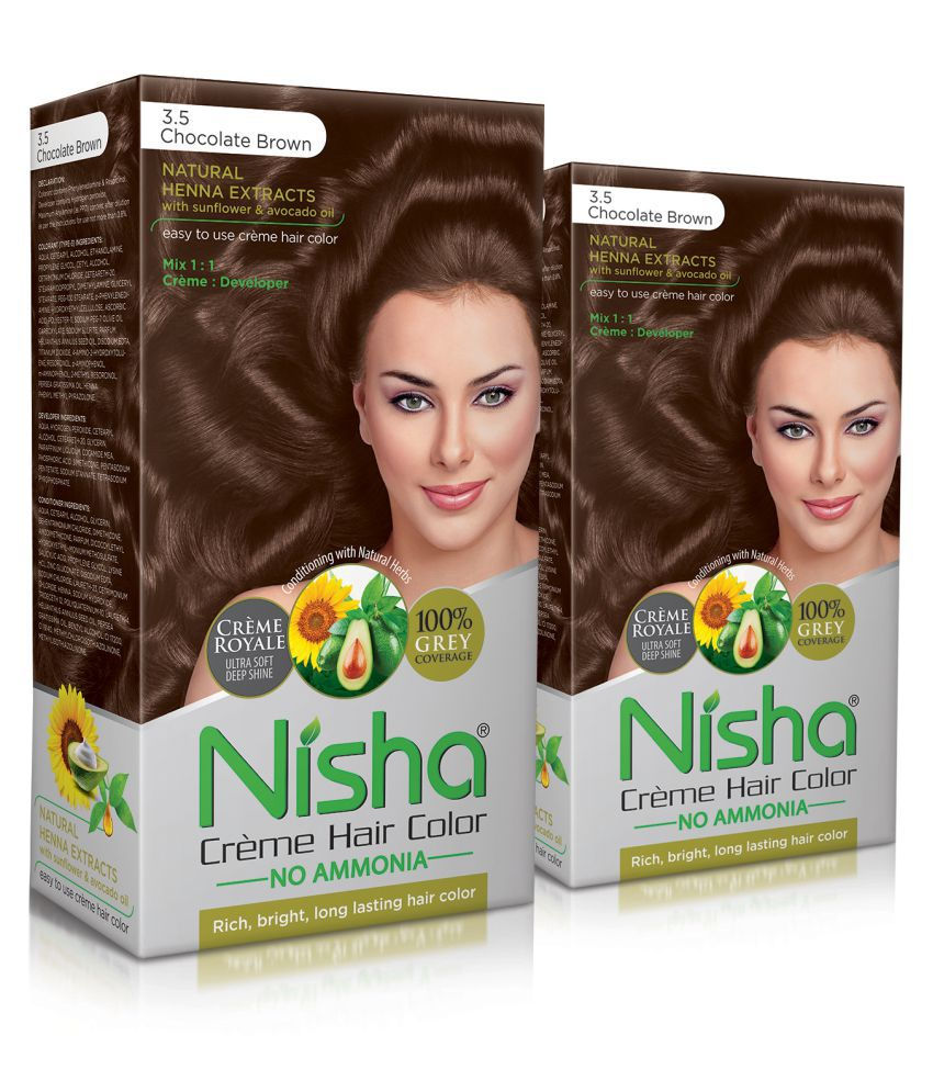 Nisha (60gm, 60ml, 12ml) Cream Permanent Hair Color Brown Chocolate Brown 3.5 120 mL Pack of 2