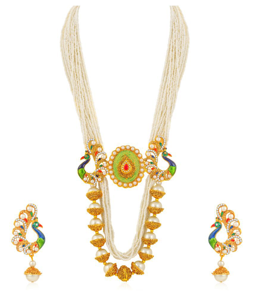 Sukkhi Alloy Yellow Long Haram Traditional 18kt Gold Plated Necklaces Set