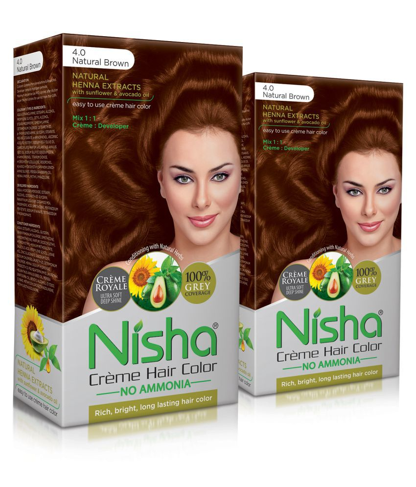 Nisha (60gm, 60ml, 12ml) Cream Permanent Hair Color Brown Natural Brown 4 120 mL Pack of 3