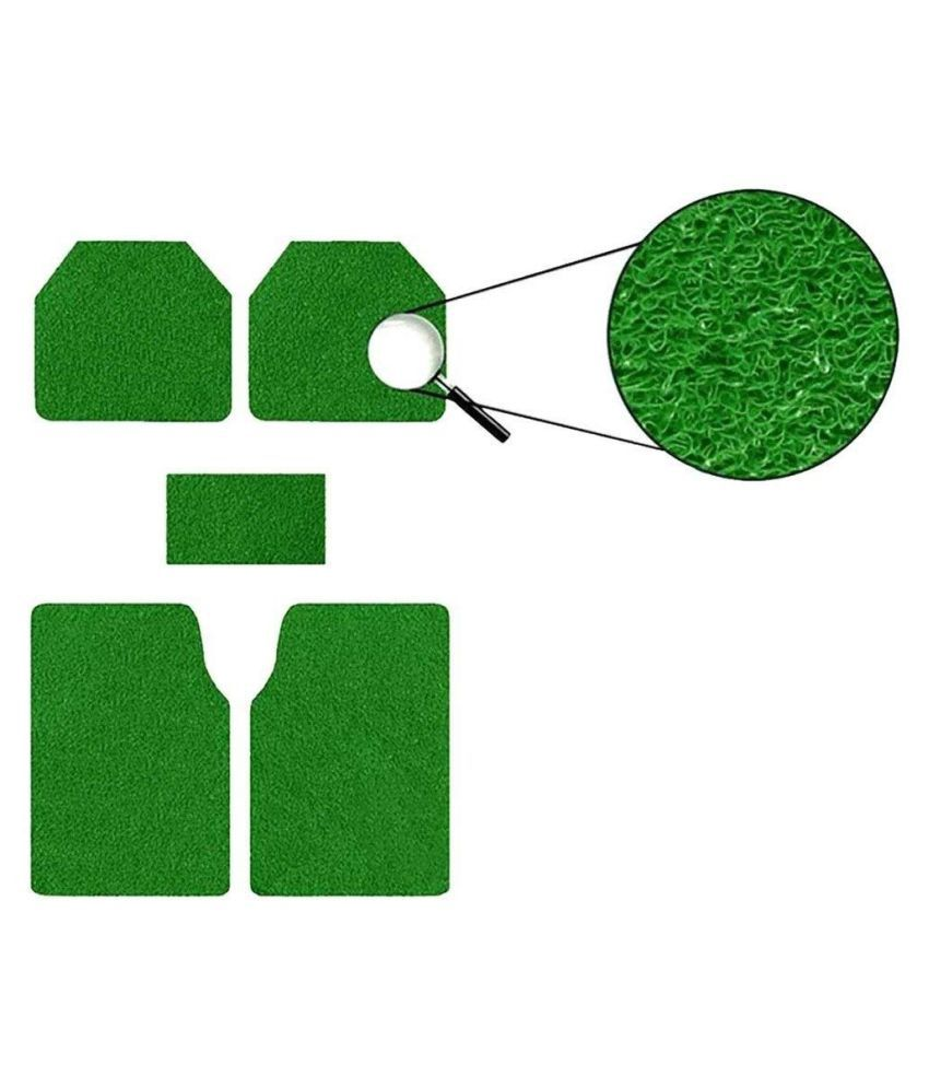 Autofetch Car Anti Slip Noodle Floor Mats (Set of 5) Green for Mahindra Quanto