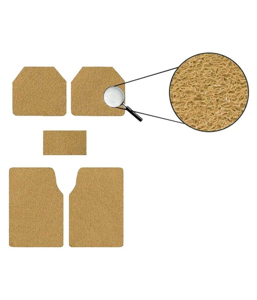 Autofetch Car Anti Slip Noodle Floor Mats (Set of 5) Beige for Honda Amaze [2014-2015]
