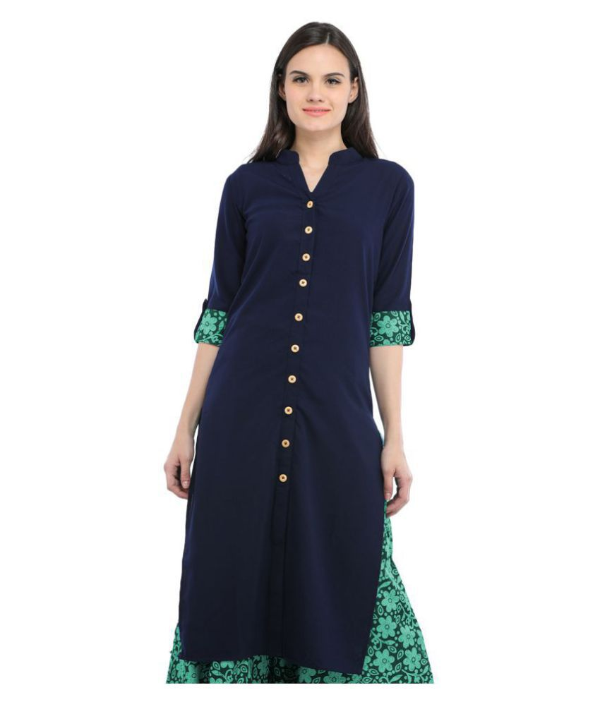 Cottinfab Navy Crepe Straight Kurti