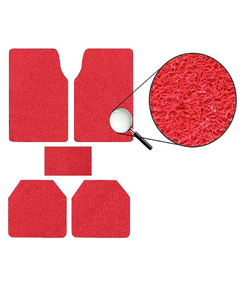 Autofetch Car Anti Slip Noodle Floor Mats (Set of 5) Red for Honda City [2000-2015]