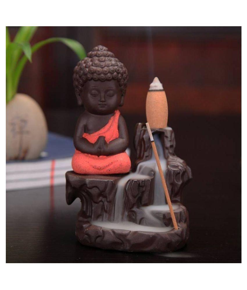 DEDHAS Orange Resin Monk Buddha Smoke Backflow - Pack of 1
