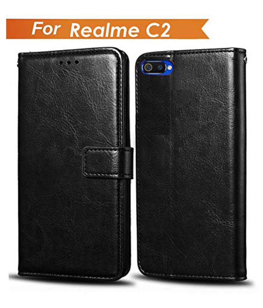 Realme C2 Flip Cover by Wow Imagine - Black