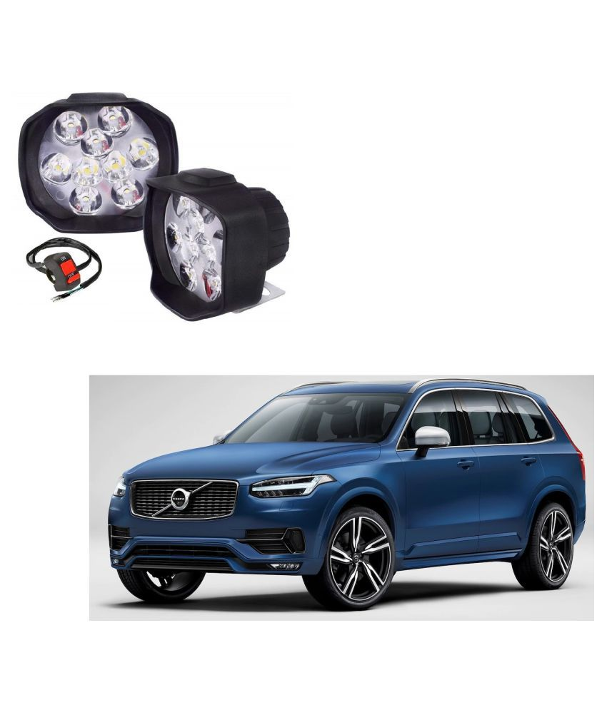 Auto Addict 9 LED 16W Anti-Fog Spot Light Auxiliary Headlight with Switch Set of 2 Pcs For Volvo XC90