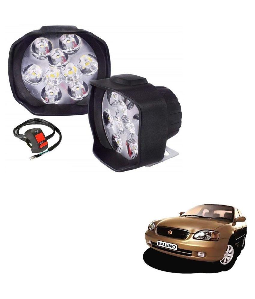 Auto Addict 9 LED 16W Anti-Fog Spot Light Auxiliary Headlight with Switch Set of 2 Pcs For Maruti Suzuki Baleno