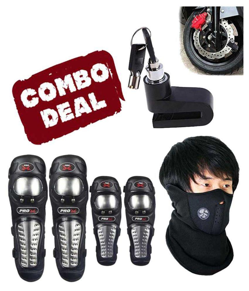 Biker Protective Gear Combo of Pro X Elbow Knee Guard Neoprene & Disc Brake Lock