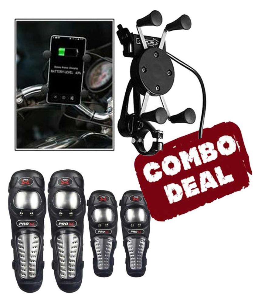 Biker Protective Gear Combo of Pro X Elbow Knee Guard & Mobile Holder Spider