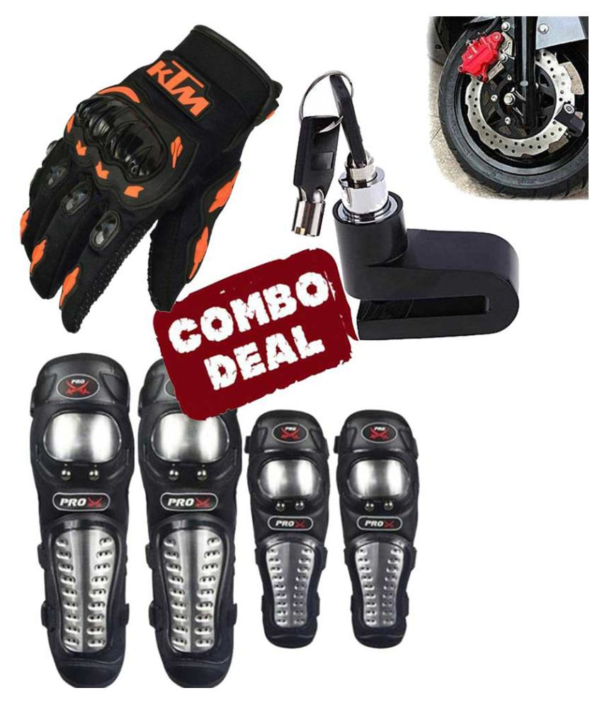 Biker Protective Gear Combo of Pro X Elbow Knee Guard Disc Brake Lock & KTM Gloves