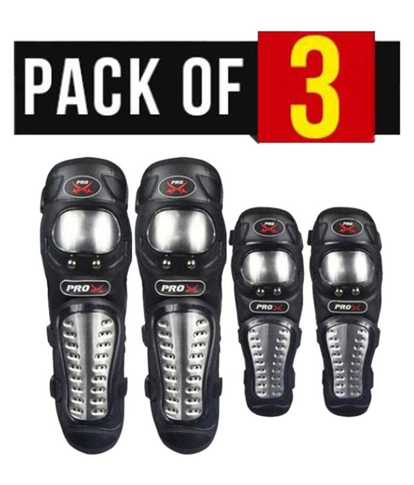 Biker Protective Gear Pro X Elbow Knee Guard Pack of 3