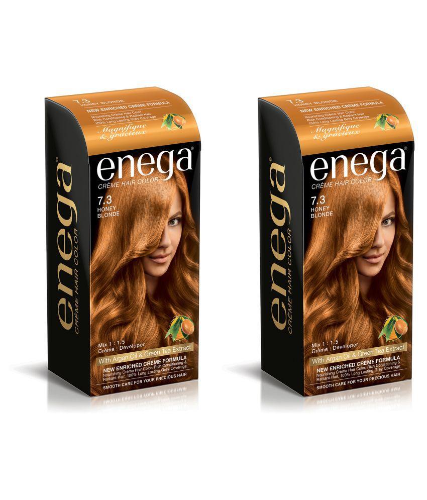 enega (60gm, 60ml, 12ml) Cream Permanent Hair Color Blonde HONEY BLONDE 7.3 120 mL Pack of 2