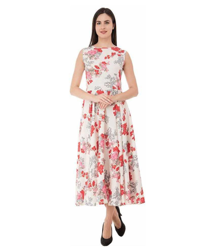 shree wow Crepe White Regular Dress