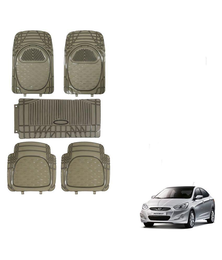 Auto Addict Car Rubber PVC Car Mat 6205 Foot Mats Smoke Color Set of 5 pcs For Hyundai Accent