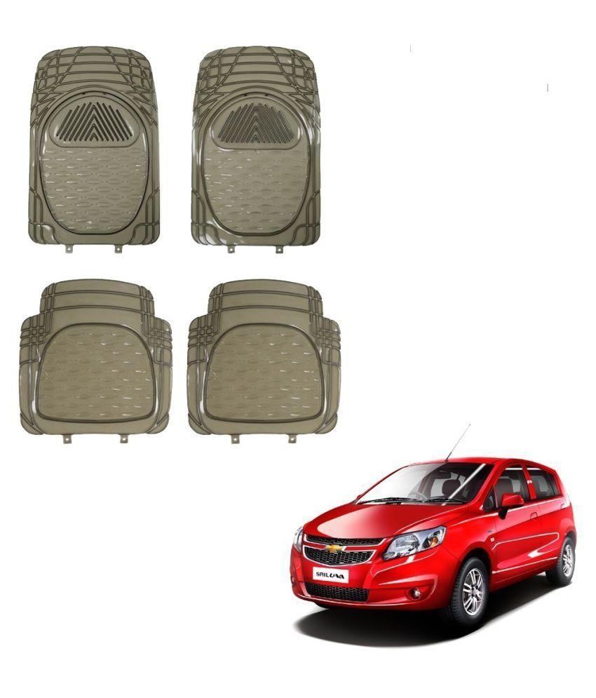 Auto Addict Car Rubber PVC Car Mat 6204 Foot Mats Smoke Color Set of 4 pcs For Chevrolet Sail UVA