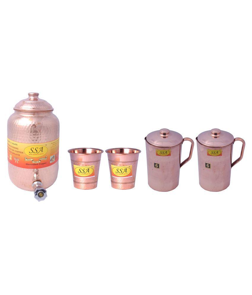 Shiv Shakti Arts Copper Drinkware Set 5 Pcs Jug and Glass Combo