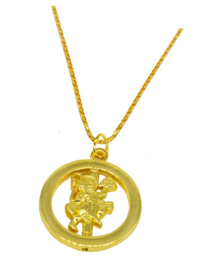 Shiv Jagdamba  Religious Jewelry Rotational Lord Hanuman Locket With Chain Gold-plated Brass Pendant