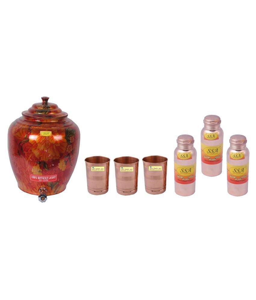 Shiv Shakti Arts Copper Drinkware Pot 7 Pcs Lemon set