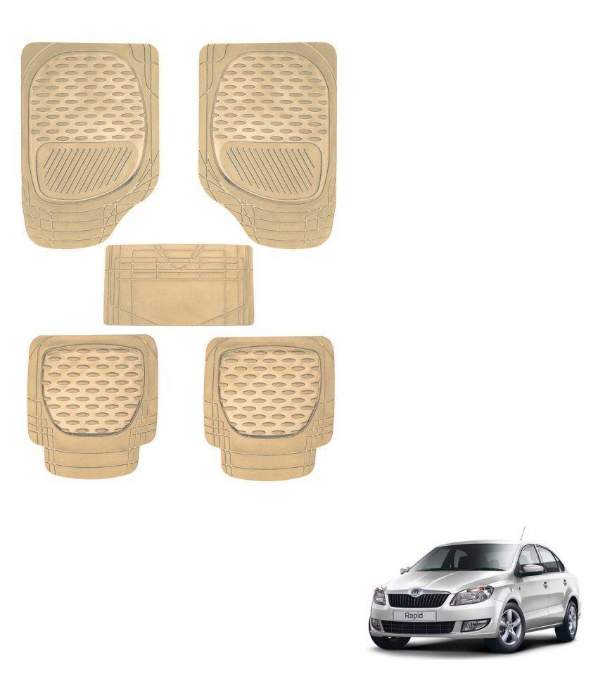 Auto Addict Car 6255 TW Rubber PVC Heavy Mats Beige Color Set Of 5 Pcs For Skoda Rapid