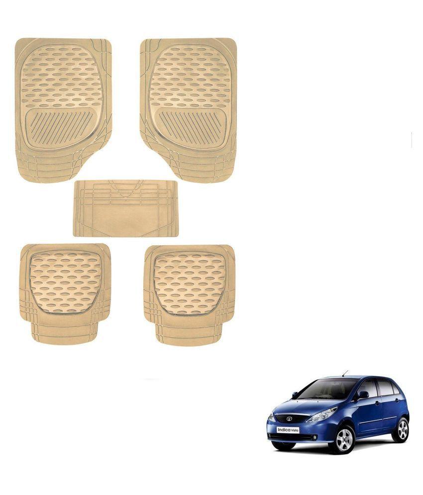 Auto Addict Car 6255 TW Rubber PVC Heavy Mats Beige Color Set Of 5 Pcs For Tata Indica Vista