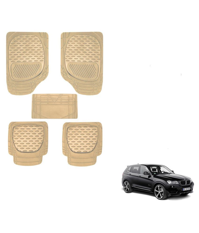 Auto Addict Car 6255 TW Rubber PVC Heavy Mats Beige Color Set Of 5 Pcs For BMW X3