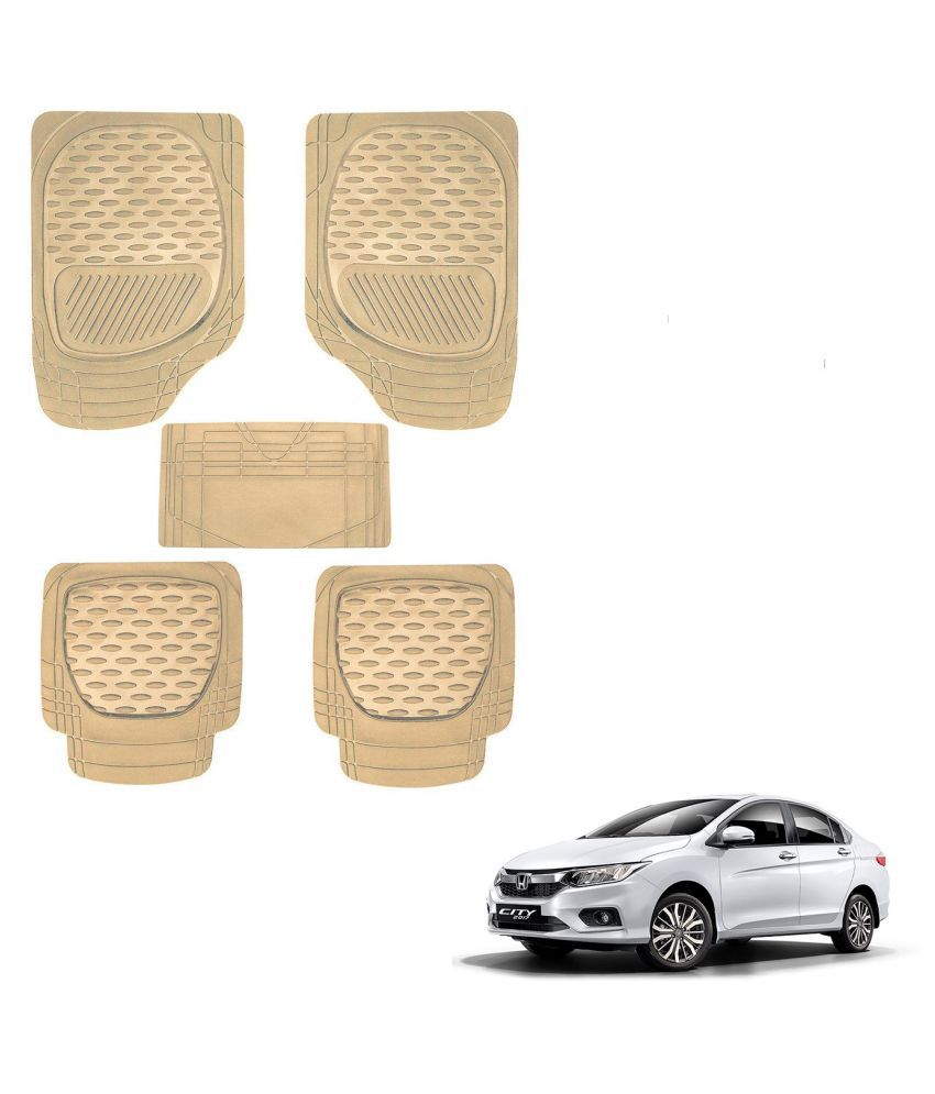 Auto Addict Car 6255 TW Rubber PVC Heavy Mats Beige Color Set Of 5 Pcs For Honda New City 2017