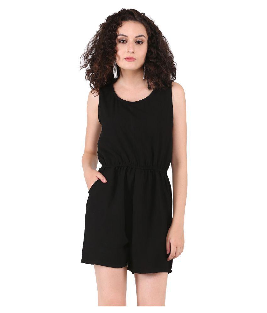 Triraj Black Rayon Jumpsuit