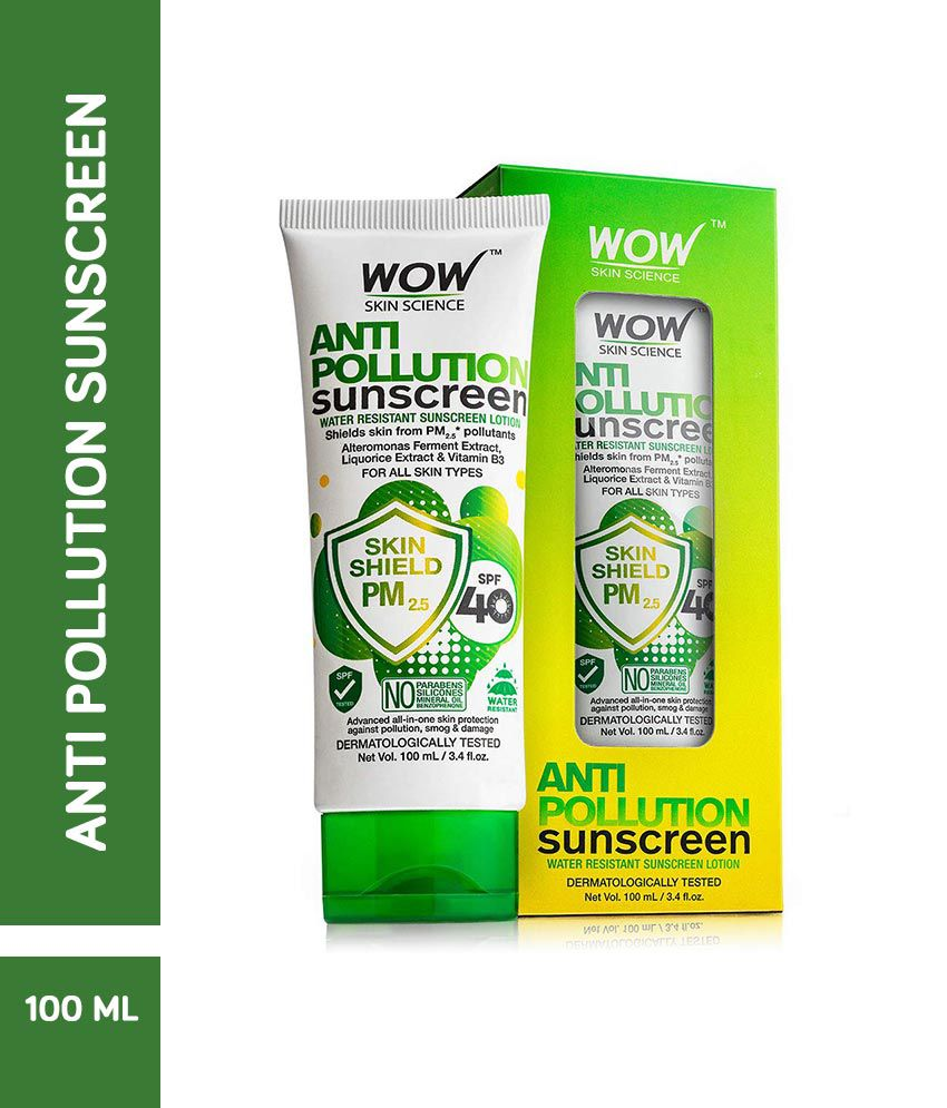 WOW Skin Science Anti Pollution Sunscreen Lotion SPF 40 100 mL