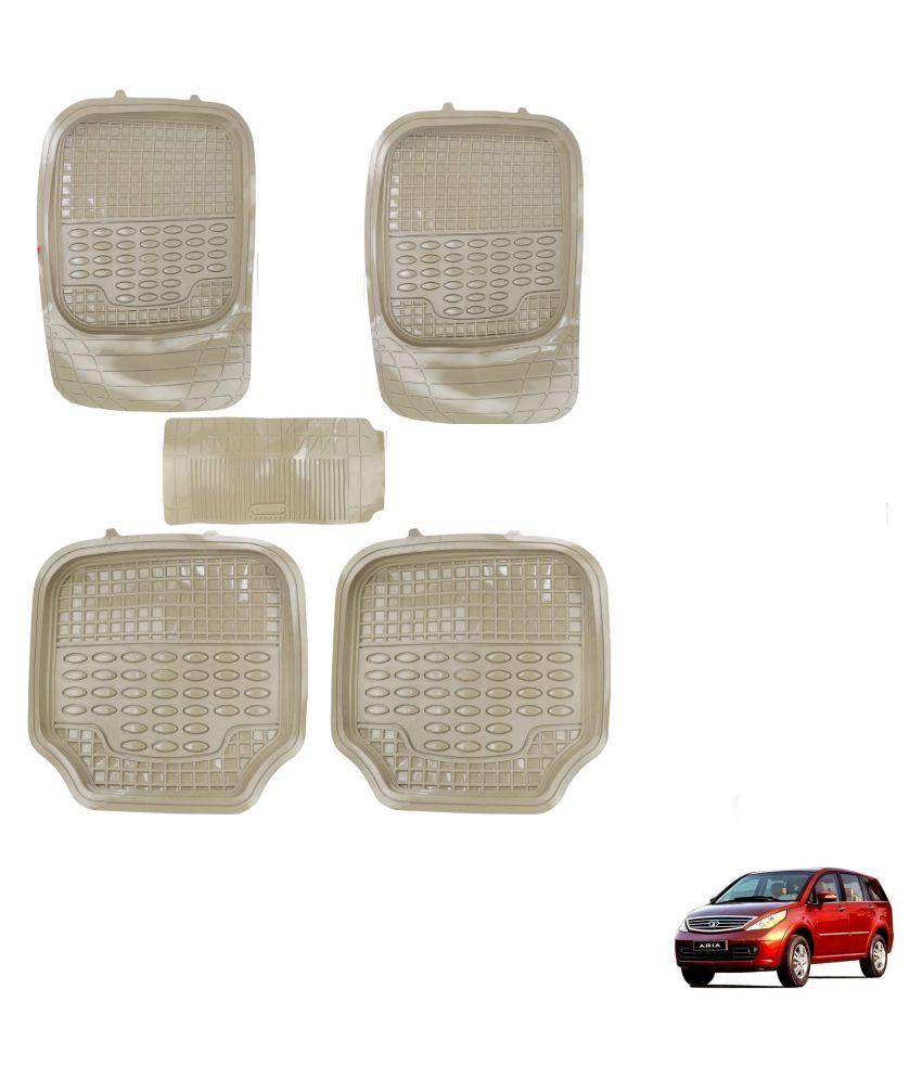 Auto Addict Car 4G Beige Rubber PVC Heavy Mats Set Of 5 Pcs For Tata Aria