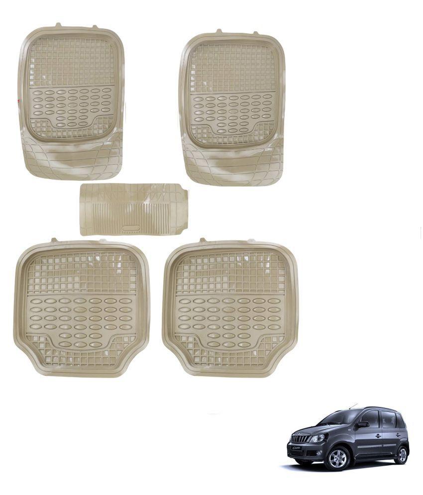Auto Addict Car 4G Beige Rubber PVC Heavy Mats Set Of 5 Pcs For Mahindra Quanto
