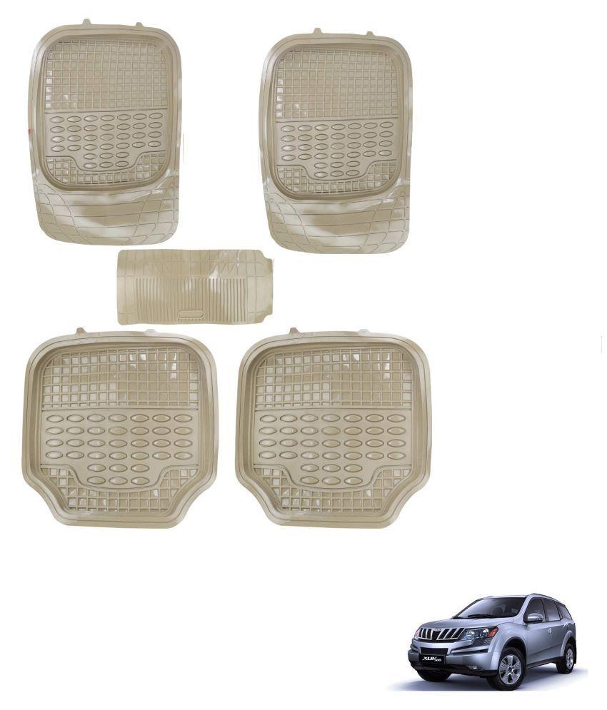 Auto Addict Car 4G Beige Rubber PVC Heavy Mats Set Of 5 Pcs For Mahindra XUV 500