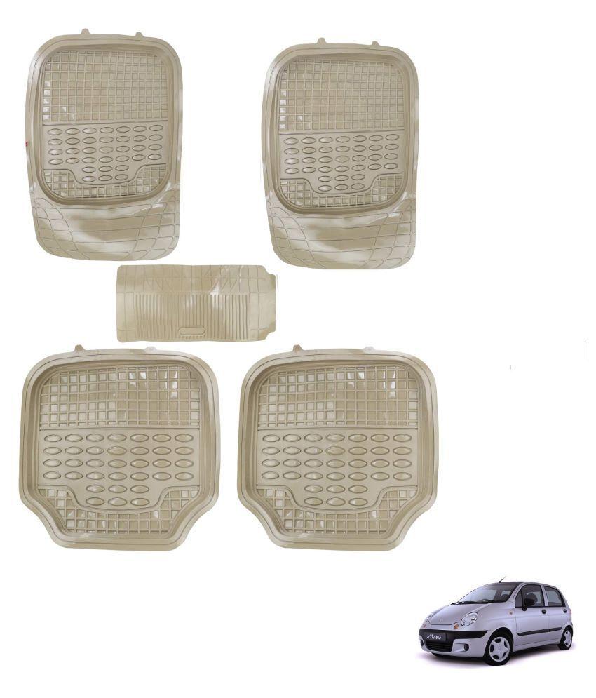 Auto Addict Car 4G Beige Rubber PVC Heavy Mats Set Of 5 Pcs For Chevrolet Matiz