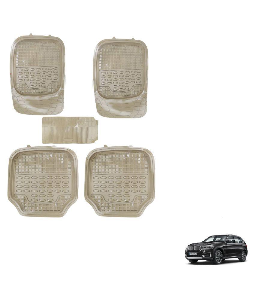 Auto Addict Car 4G Beige Rubber PVC Heavy Mats Set Of 5 Pcs For BMW X5
