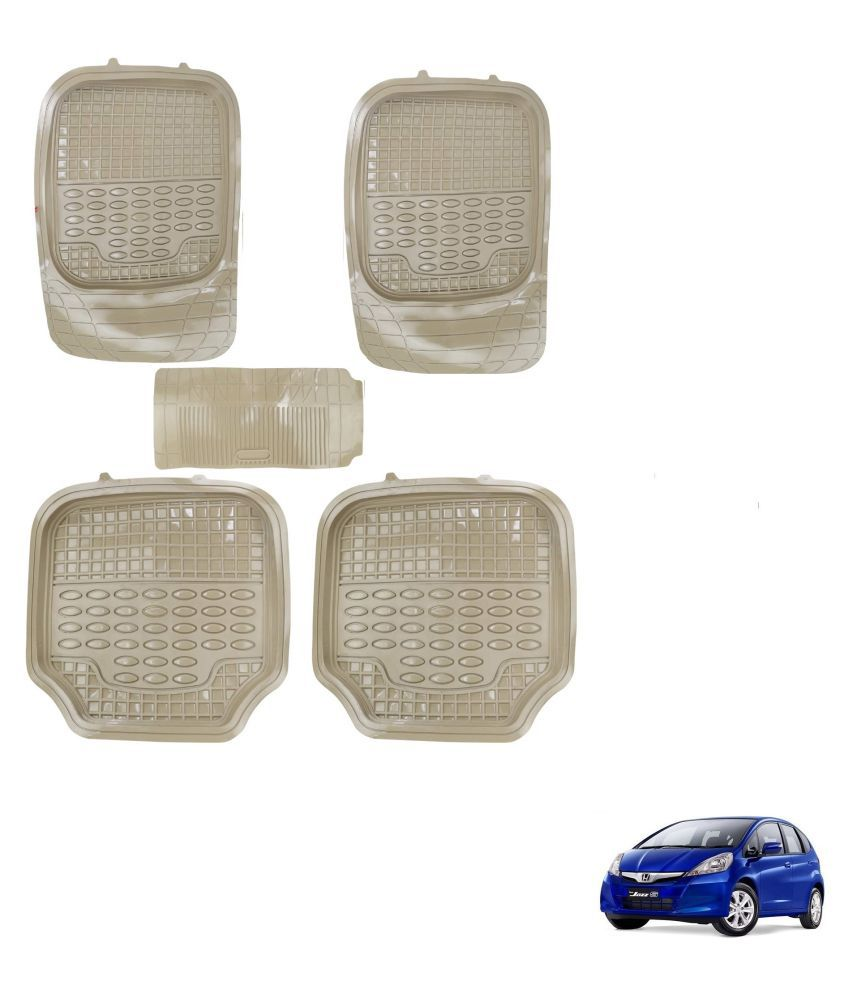 Auto Addict Car 4G Beige Rubber PVC Heavy Mats Set Of 5 Pcs For Honda Old Jazz (2009-2014)