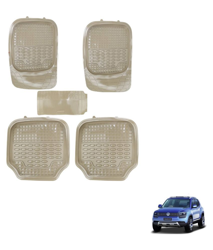 Auto Addict Car 4G Beige Rubber PVC Heavy Mats Set Of 5 Pcs For Volkswagen Tiguan