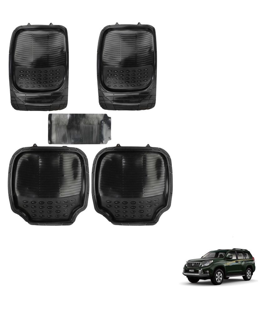 Auto Addict Car 4G Black Rubber PVC Heavy Mats Set Of 5 Pcs For Toyota Land Cruiser Prado
