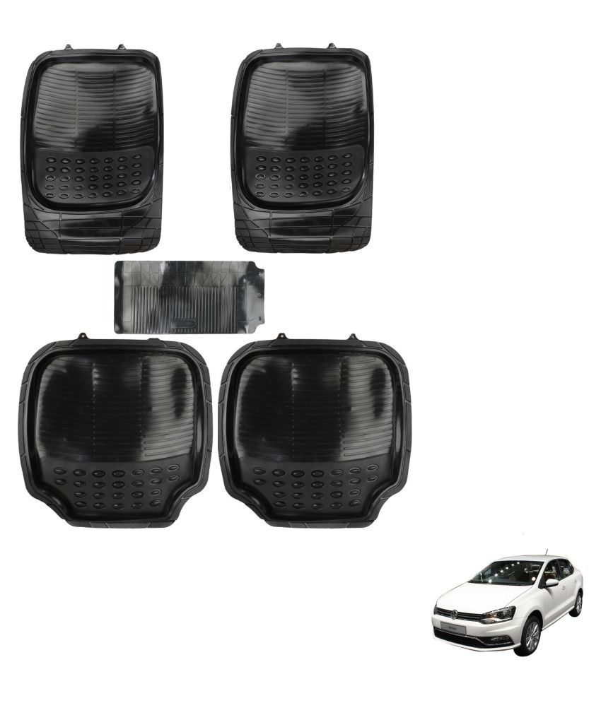 Auto Addict Car 4G Black Rubber PVC Heavy Mats Set Of 5 Pcs For Volkswagen Ameo