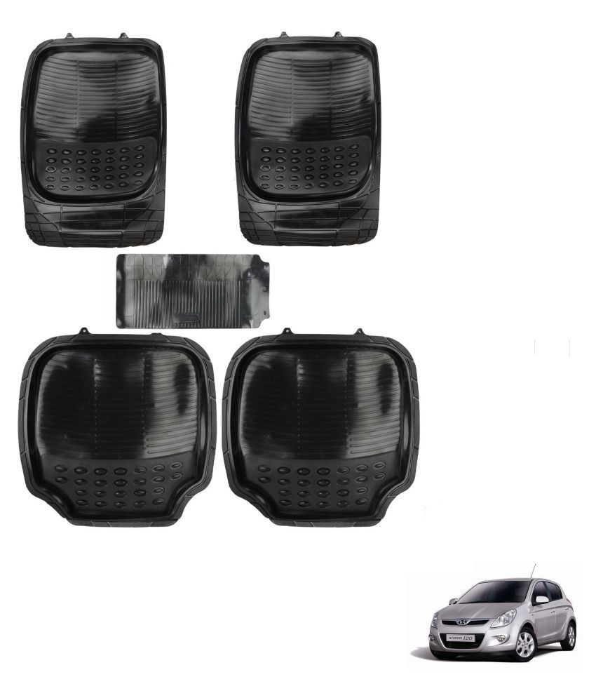Auto Addict Car 4G Black Rubber PVC Heavy Mats Set Of 5 Pcs For Hyundai Old i20 (2008-2014)