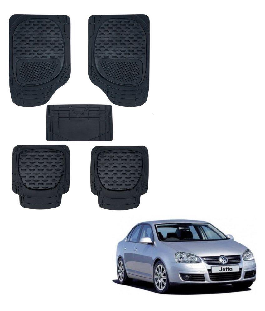Auto Addict Car 6255 TW Rubber PVC Heavy Mats Black Color Set Of 5 Pcs For Volkswagen Old Jetta (2008-2015)