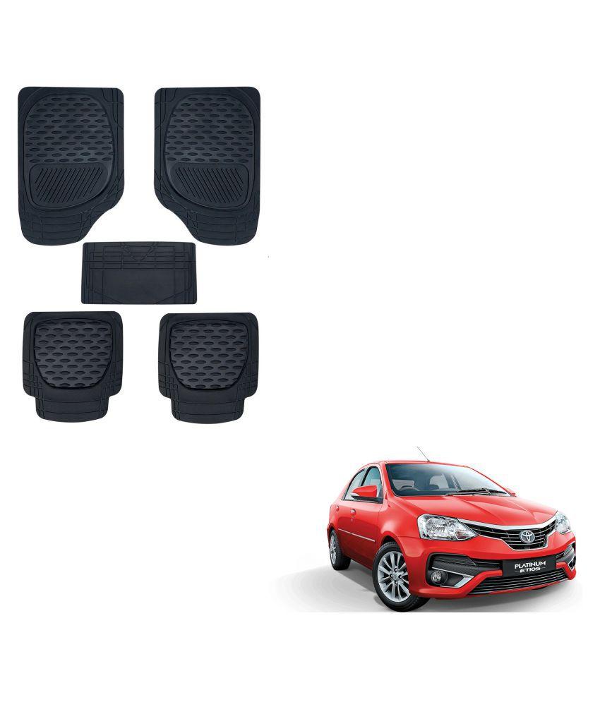 Auto Addict Car 6255 TW Rubber PVC Heavy Mats Black Color Set Of 5 Pcs For Toyota Etios Platinum