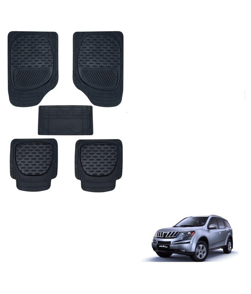 Auto Addict Car 6255 TW Rubber PVC Heavy Mats Black Color Set Of 5 Pcs For Mahindra XUV 500