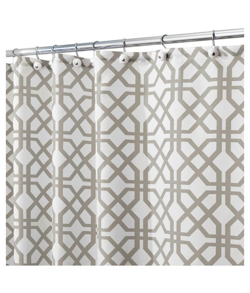 New Shower Curtain Inter Design Trellis Fabric Stone Gray/White Shower Curtain 180*180cm